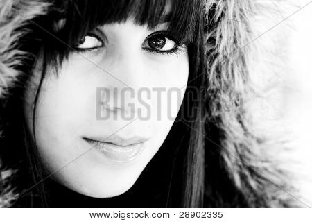 Beautiful woman portrait in black and white