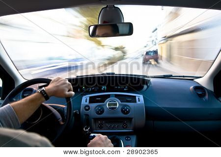 Inside a car at high speed