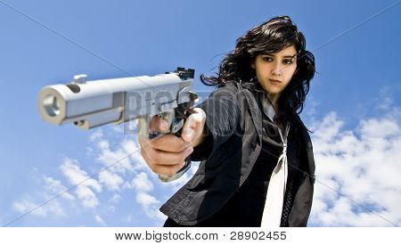 Mafia girl shooting at cold blood