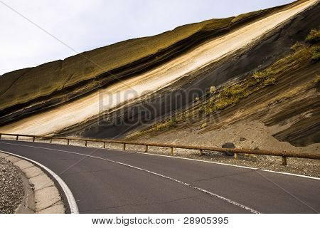 Sediment layers near de road at Teide National Park, Tenerife.