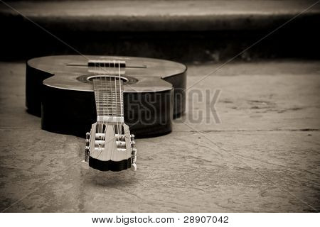 Spanish guitar in sepia