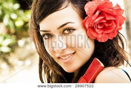 Spanish beautiful woman smiling at camera.