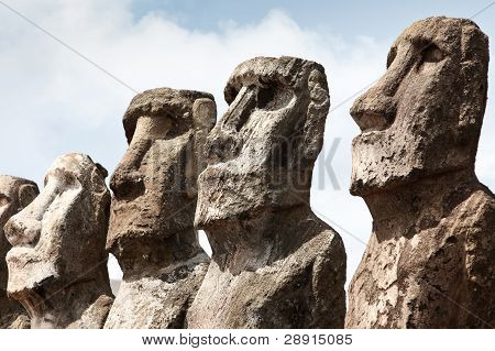 Faces Of Four Moai In Easter Island