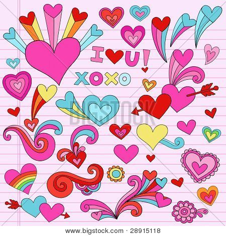 Valentine Hearts and Love Psychedelic Groovy Notebook Doodle Design Elements Set on Pink Lined Sketchbook Paper Background- Vector Illustration