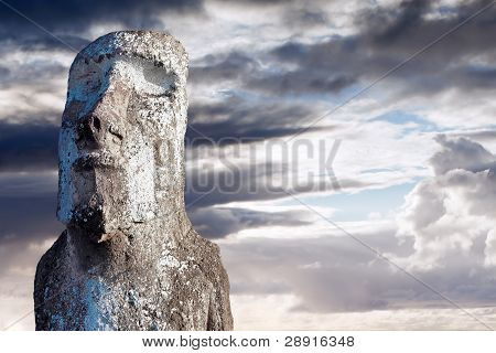 Moai Covered In Lichen In Easter Island
