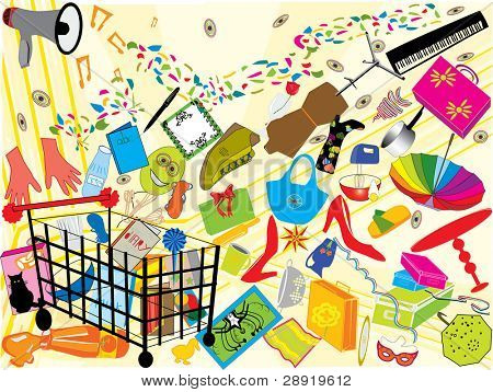 a happy shopping party : a vector set of elements
