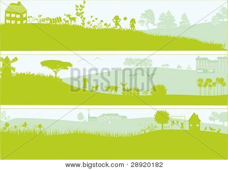 3 green landscapes