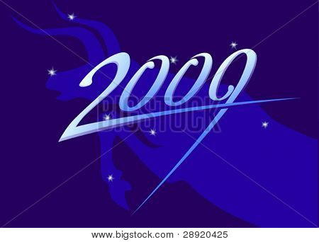 New year 2009 sign on taurus and stars background