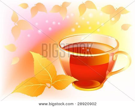 Cup of tea in autumn background