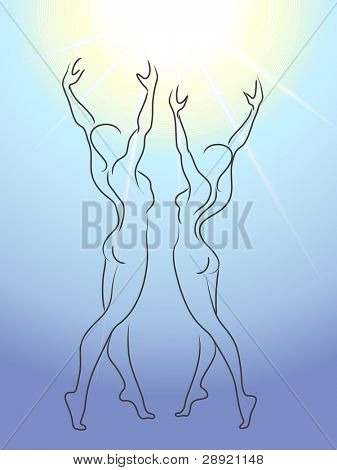 Woman and man glorify sun