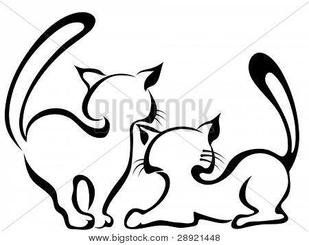 Esboço de dois gatos