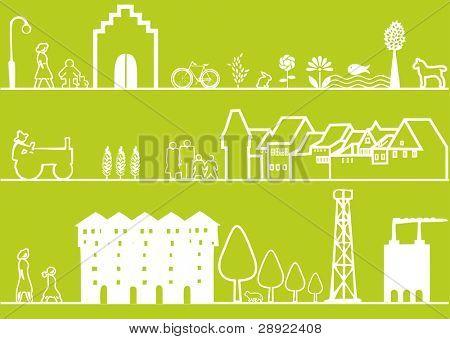 3 green landscape or cityscape