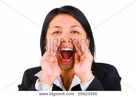 A young woman scream loud against the camera.