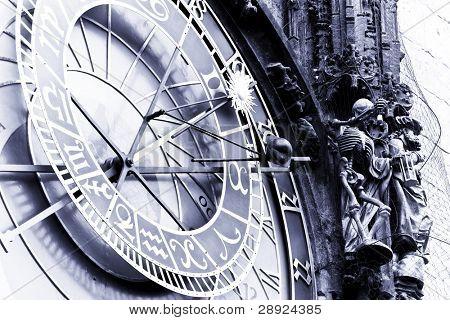 Astronomical clock at Prague, blue toned.