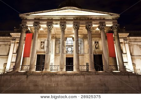National Gallery museum facade at night.