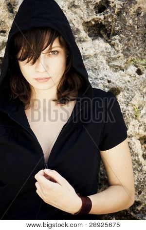 Young woman portrait staring at camera,