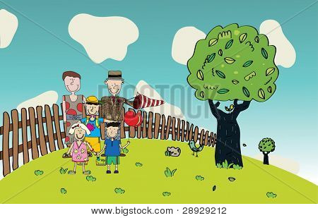 Vector illustration of Happy Family, tree and birds