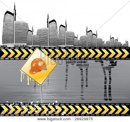 Under construction vector illustration with city details