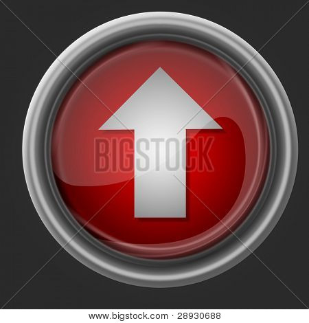 red glass button with arrow for web design