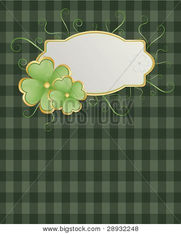 St. Patrick's theme with shamrock on green square background and swirls