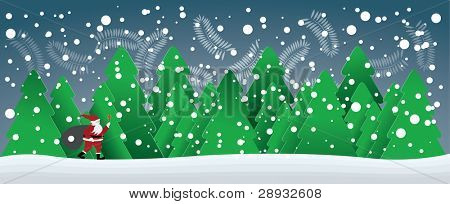 christmas card with Santa Claus in forest and snowflakes in the blue sky, illustration