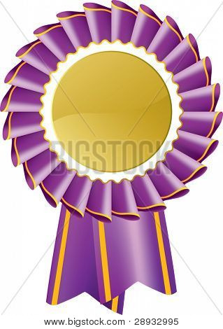 Purple award seal rosette, editable vector illustration