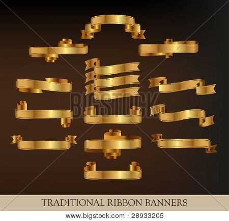 Collection of Gold Vector Ribbons