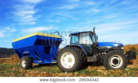 Tractor working on a farm