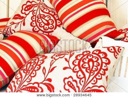 Combination of different patterned pillows