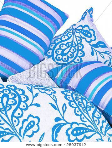 Various blue cushions