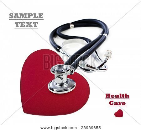 a Doctor's stethoscope listening to a red heart  on a white background with space for text