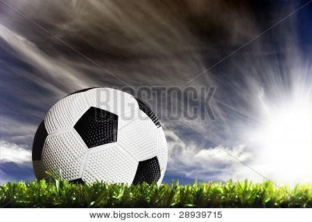 a Soccer ball on a soccer field
