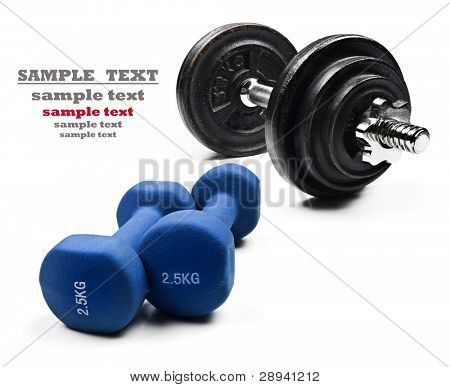 Dumbbells on a white background with space for text