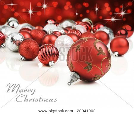 Red christmas ornaments with star background