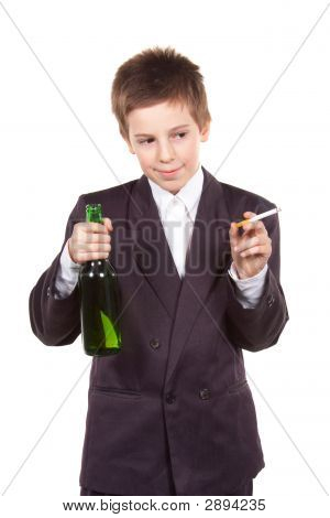 Schoolboy With Alcohol And Cigarette.