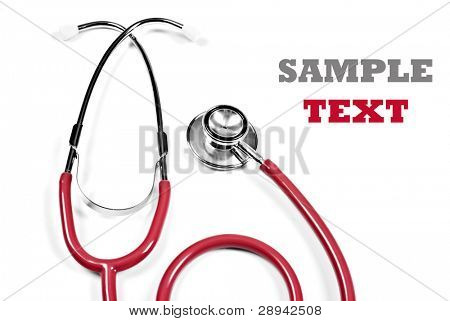 Close up of a red doctor's stethoscope