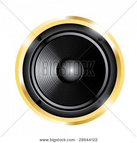 illustration of golden audio speaker. Isolated on white background