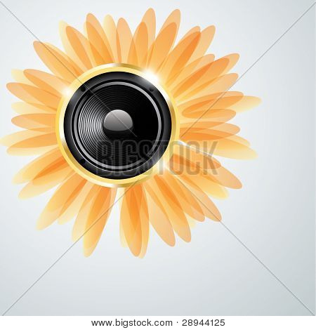 Abstract shiny background with golden speaker. Vector illustration eps10