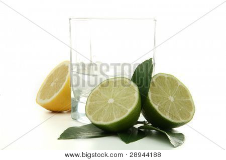 cocktail, glass of rhum with lemon isolated on white background