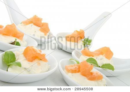 fingerfood , cheese and salmon