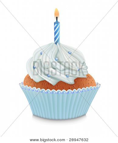 Blue birthday cupcake with burning candle