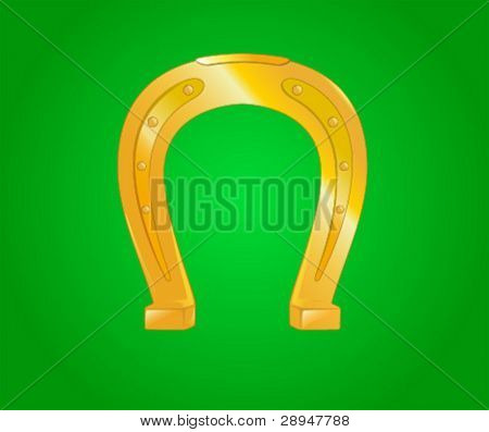 Illustration of a horseshoe on green background