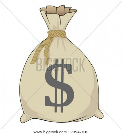 Illustration of bag full of money