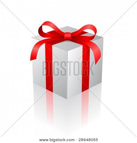 Vector illustration of a gift box with mirror effect