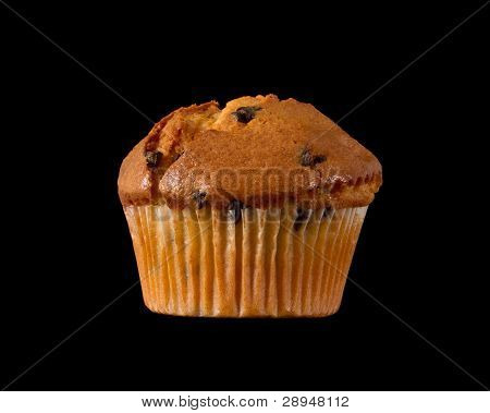 Chocolate Chip Muffin Isolated On A Black Background