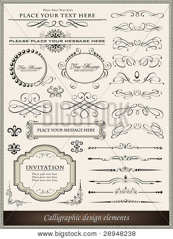 Vector illustration of calligraphic design elements and page decoration