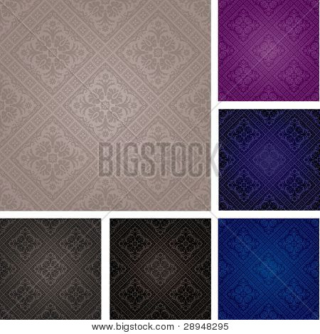 set of vector seamless repeating wallpapers