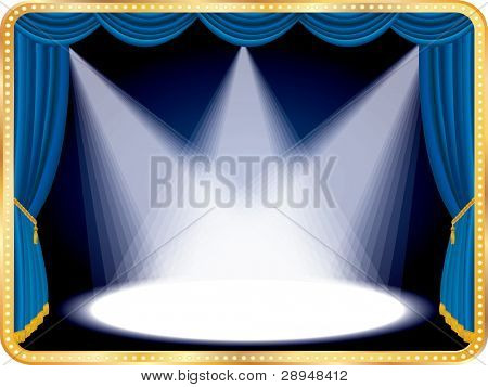vector horizontal empty stage with blue curtain and three spots, eps 10 file