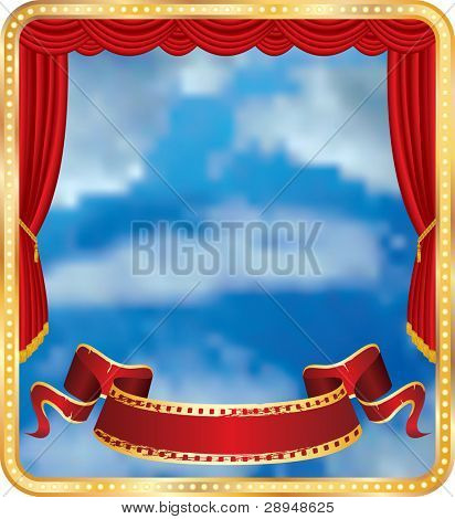 vector red curtain stage with blank banner and cloudy sky