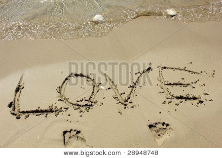 love word in sand